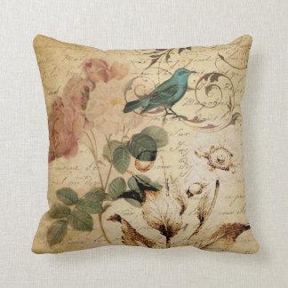 el vintage subió scripts la moda floral del pájaro cojin