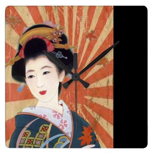 El vintage Sun irradia al geisha japonés retro Reloj De Pared