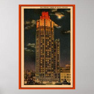 El vintage The Tribune se eleva por la noche Chica Póster