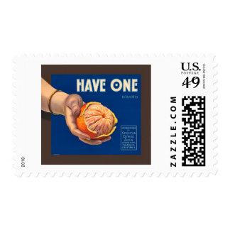 El vintage tiene un anuncio de la secoya de la timbres postales