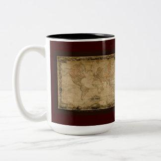 El vintage traza de alrededor del mundo taza de dos tonos