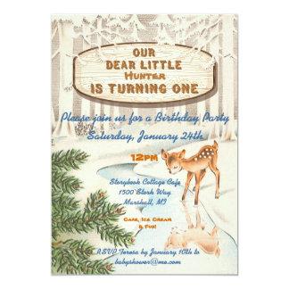 El vintage un ciervo año del arbolado del invierno comunicados personales