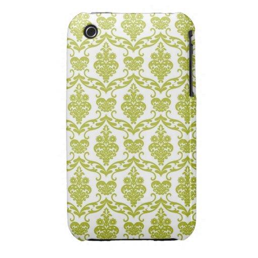 El vintage verde del damasco florece la flor del e Case-Mate iPhone 3 protectores