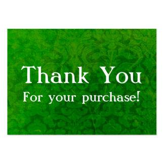 El vintage verde le agradece por sus tarjetas de l tarjetas personales