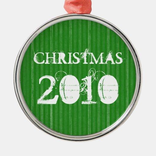 El vintage verde raya el ornamento del navidad ornamentos de reyes