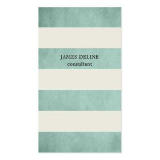 El vintage verde texturizado raya al consultor tarjetas de visita