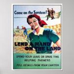 El vintage viene en el servicio presta una mano en poster