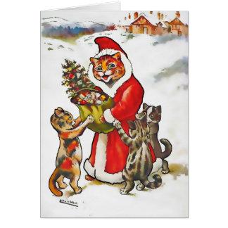 El vintage Wain Santa agarra la tarjeta de Navidad