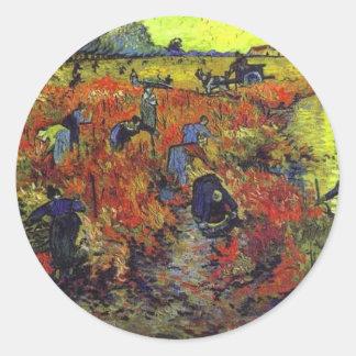 El Vinyard rojo de Vincent van Gogh Pegatina Redonda