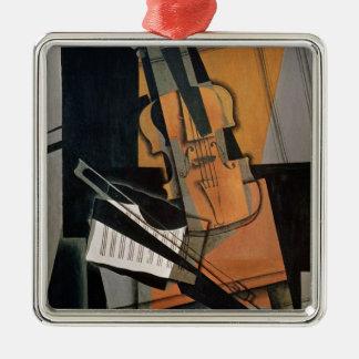 El violín, 1916 adorno navideño cuadrado de metal
