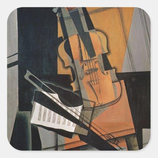 El violín, 1916 pegatina cuadrada