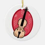 El violín con rosa observa el fondo adornos de navidad