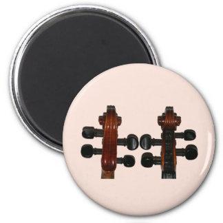 El violín enrolla el frente y la parte posterior imán redondo 5 cm