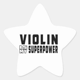 El violín es mi superpotencia pegatina en forma de estrella