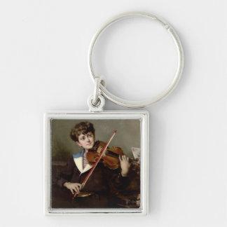 El violinista llavero cuadrado plateado
