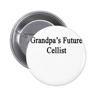 El violoncelista futuro del abuelo pin redondo de 2 pulgadas