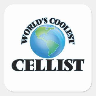 El violoncelista más fresco del mundo pegatina cuadrada