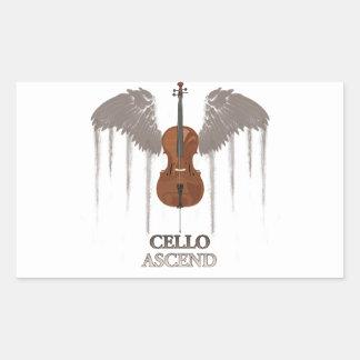 El violoncelo con alas asciende diseño pegatina rectangular