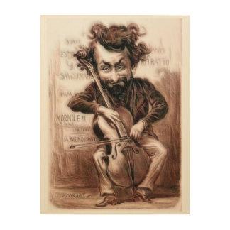 El violoncelo taja arte de la pared de Muscian el Impresión En Madera