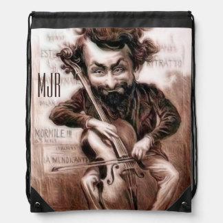 El violoncelo taja arte de la pared de Muscian el Mochilas