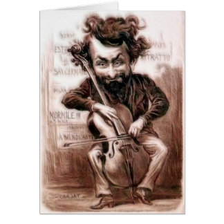 El violoncelo taja arte de la pared de Muscian el Tarjeta De Felicitación