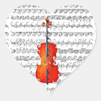 ¡El violoncelo y yo oscilamos! _ Pegatina En Forma De Corazón