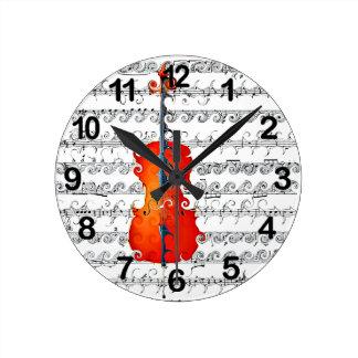 ¡El violoncelo y yo oscilamos! _ Reloj Redondo Mediano