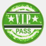 El VIP pasa al pegatina del fiesta (el verde)