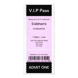 """El VIP pasa el boleto de la admisión de la fiesta Invitación 4"""" X 9.25"""""""