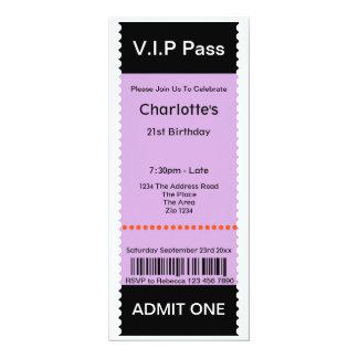 """El VIP pasa el boleto de la admisión del fiesta Invitación 4"""" X 9.25"""""""