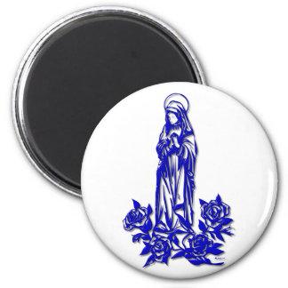 El Virgen María bendecido (con los rosas azules) Imán Redondo 5 Cm