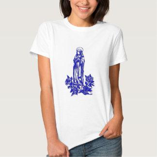 El Virgen María bendecido (con los rosas azules) Playeras