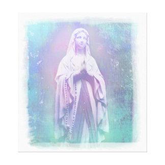 El Virgen María bendecido estiró la impresión de Lona Envuelta Para Galerias
