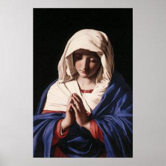 El Virgen María en poster del rezo