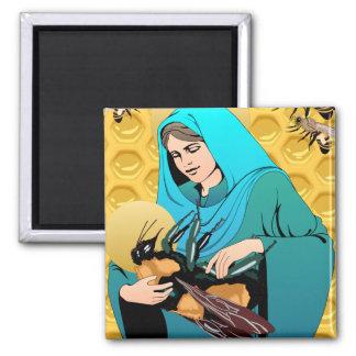 El Virgen María Madonna y manosea la abeja Imanes De Nevera