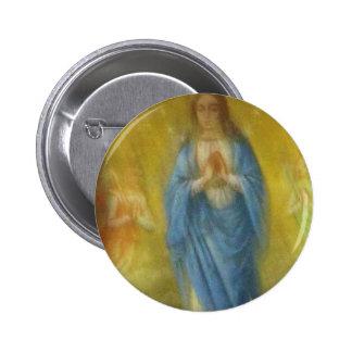 El Virgen María -   período medieval Pin Redondo De 2 Pulgadas