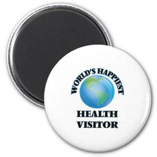 El visitante más feliz de la salud del mundo imán redondo 5 cm