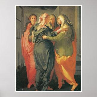 El Visitation - impresión de la lona de Jacopo DA