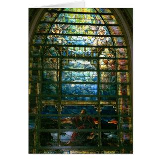 El vitral de la ciudad santa por la tarjeta de