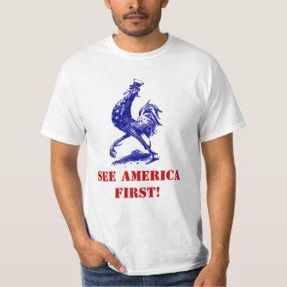 El vntg de la camiseta considera el primer gallo remera