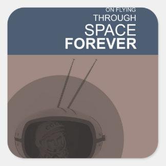 El volar a través de espacio pegatina cuadrada