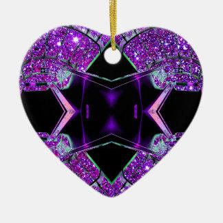 El volar a través del universo adorno navideño de cerámica en forma de corazón