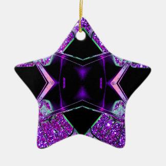 El volar a través del universo adorno navideño de cerámica en forma de estrella