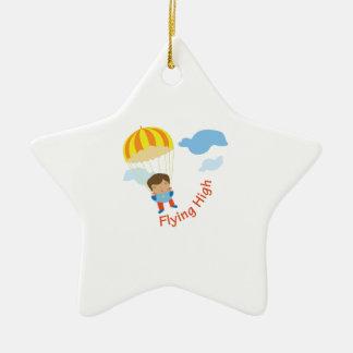 El volar arriba adorno navideño de cerámica en forma de estrella