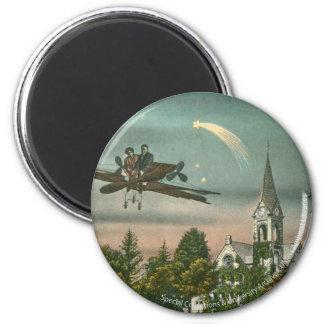 El volar arriba sobre capilla vieja imán redondo 5 cm