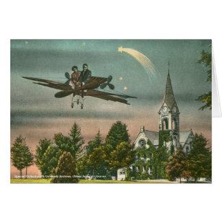 El volar arriba sobre capilla vieja tarjeta de felicitación