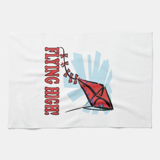 El volar arriba toallas de mano