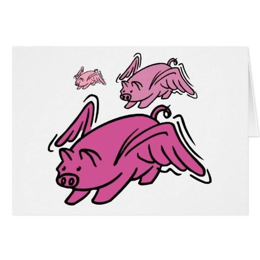 El volar de 3 cerdos tarjeta de felicitación
