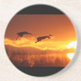 El volar en la puesta del sol posavasos personalizados