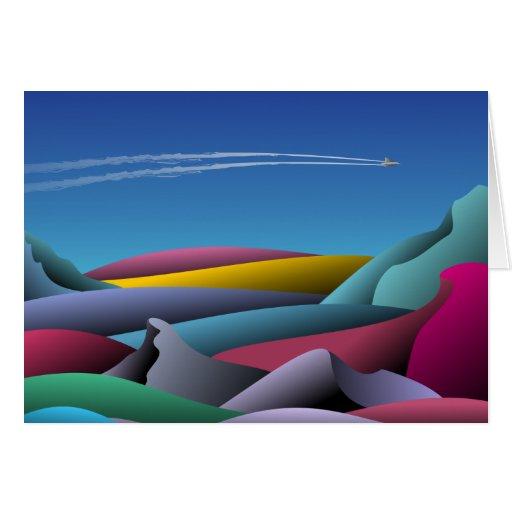 El volar en un avión de reacción tarjeta de felicitación